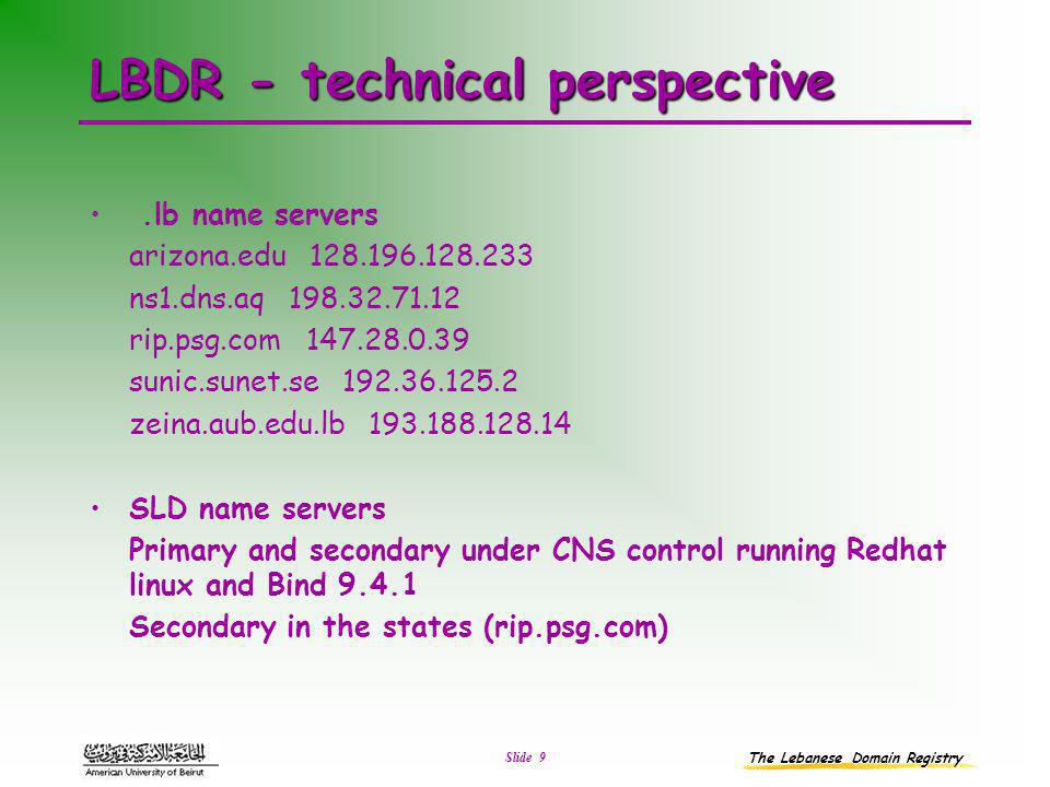 The Lebanese Domain Registry Slide 9 LBDR - technical perspective.lb name servers arizona.edu 128.196.128.233 ns1.dns.aq 198.32.71.12 rip.psg.com 147.28.0.39 sunic.sunet.se 192.36.125.2 zeina.aub.edu.lb 193.188.128.14 SLD name servers Primary and secondary under CNS control running Redhat linux and Bind 9.4.1 Secondary in the states (rip.psg.com)