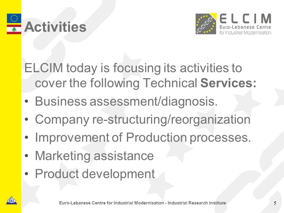 Activities ELCIM today is focusing its activities to cover the following Technical Services: Business assessment/diagnosis.