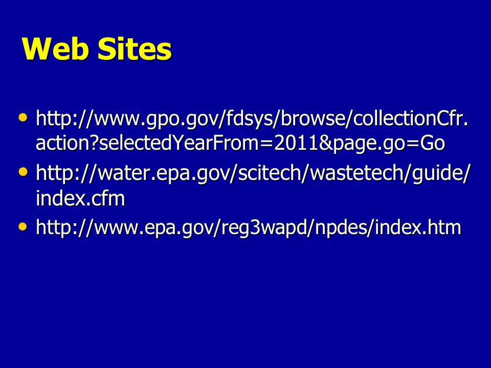 Web Sites http://www.gpo.gov/fdsys/browse/collectionCfr.