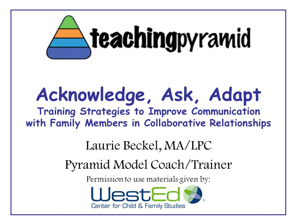 Acknowledge, Ask, Adapt Training Strategies to Improve Communication with Family Members in Collaborative Relationships Laurie Beckel, MA/LPC Pyramid