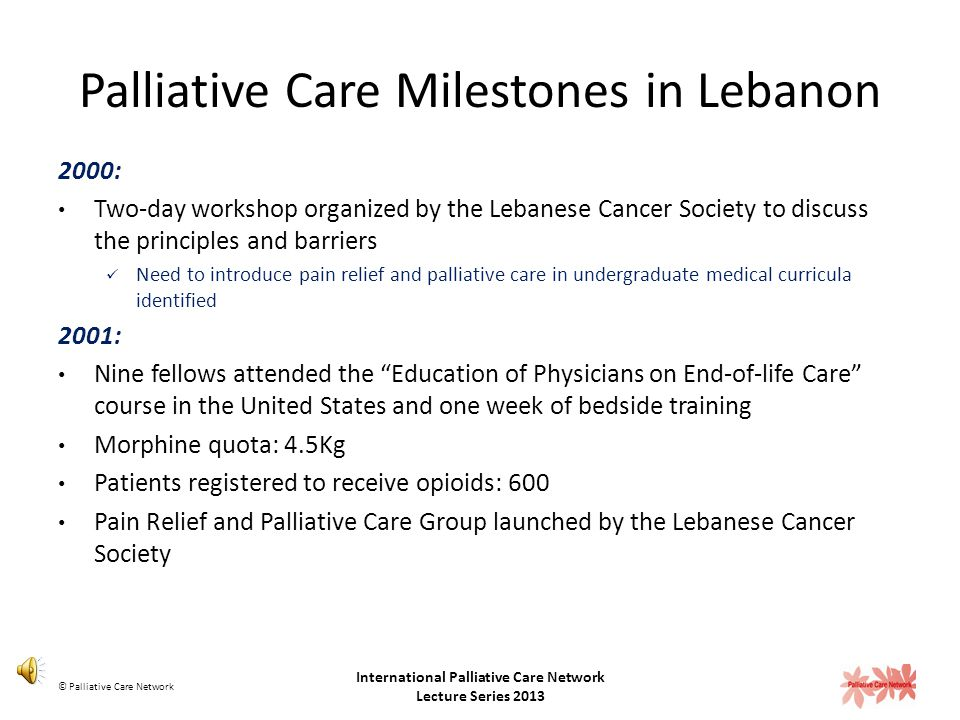 Palliative Care Milestones in Lebanon 1995: Pain relief and Palliative Care identified as a priority during the World Health Organization National Can