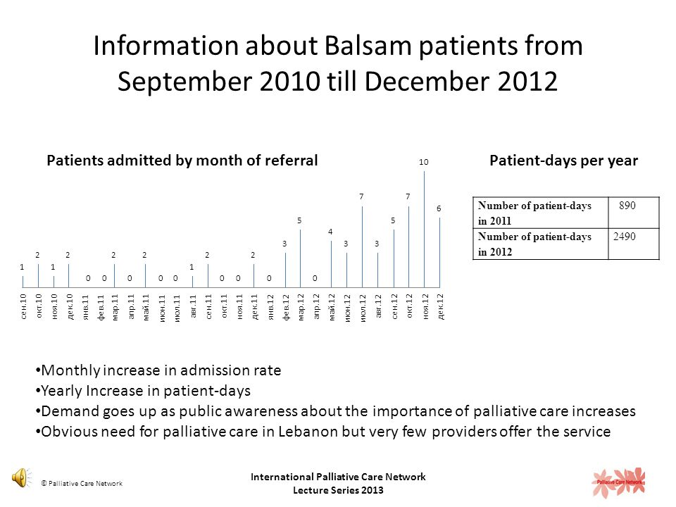 Information about Balsam patients from September 2010 till December 2012 68 patients admitted (10 partial support, 58 full support) 88% had a cancer diagnosis 53 % of patients are females 88% are Lebanese 65 is the patient average age age range is 20 to 90 years old.
