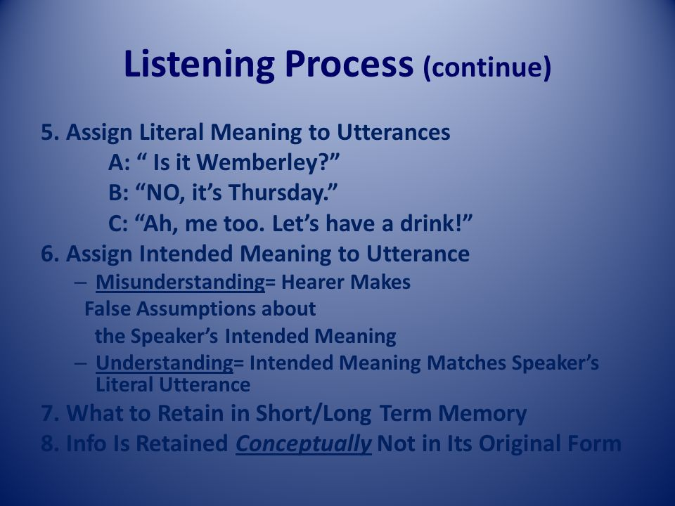 Listening Process (continue) 5.