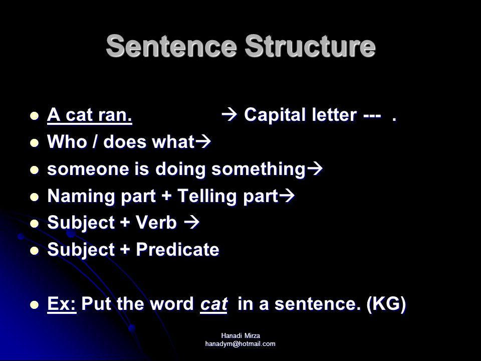 Hanadi Mirza hanadym@hotmail.com Sentence Structure A cat ran.