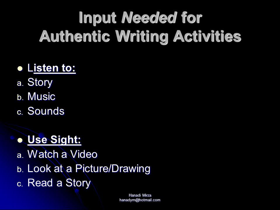 Hanadi Mirza hanadym@hotmail.com Input Needed for Authentic Writing Activities Listen to: Listen to: a.
