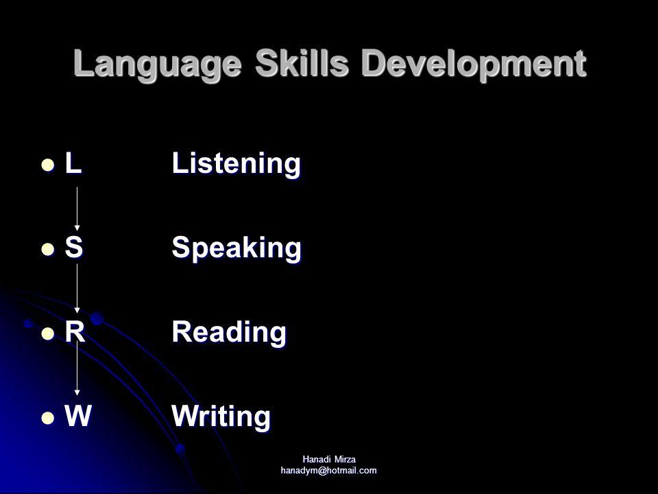 Hanadi Mirza hanadym@hotmail.com Language Skills Development LListening LListening SSpeaking SSpeaking RReading RReading WWriting WWriting