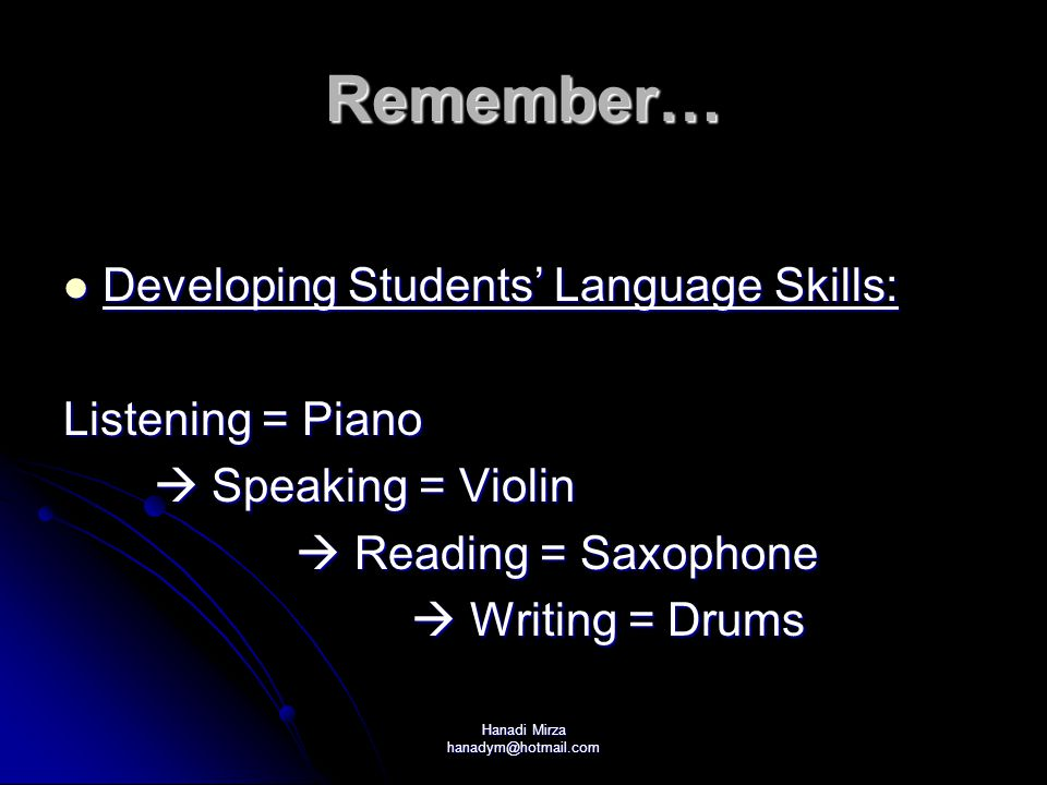 Hanadi Mirza hanadym@hotmail.com Remember… Developing Students' Language Skills: Developing Students' Language Skills: Listening = Piano  Speaking = Violin  Speaking = Violin  Reading = Saxophone  Reading = Saxophone  Writing = Drums  Writing = Drums
