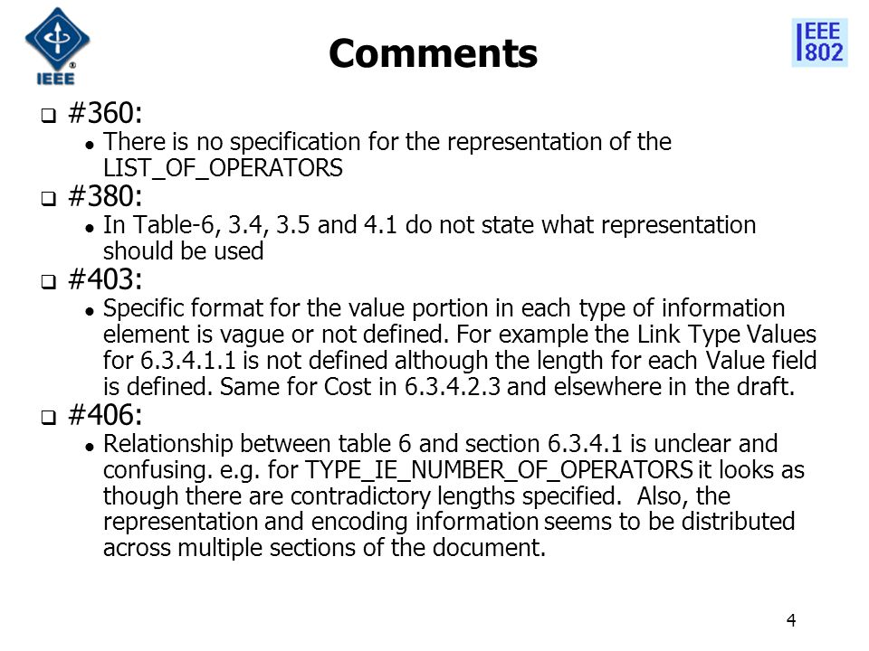 4 Comments  #360: There is no specification for the representation of the LIST_OF_OPERATORS  #380: In Table-6, 3.4, 3.5 and 4.1 do not state what representation should be used  #403: Specific format for the value portion in each type of information element is vague or not defined.