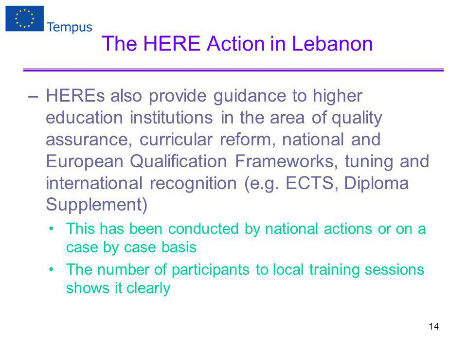 The HERE Action in Lebanon –HEREs also provide guidance to higher education institutions in the area of quality assurance, curricular reform, national and European Qualification Frameworks, tuning and international recognition (e.g.