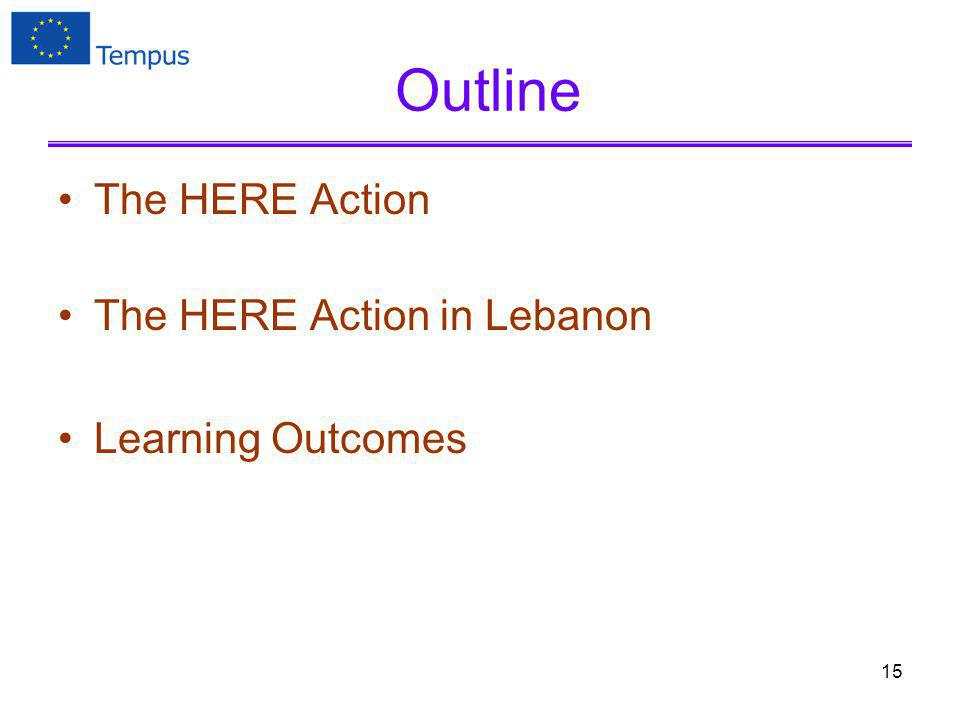 Outline The HERE Action The HERE Action in Lebanon Learning Outcomes 15