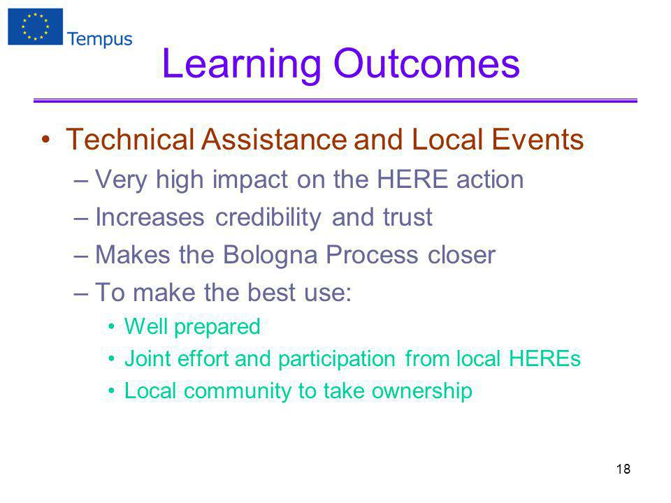 Learning Outcomes Technical Assistance and Local Events –Very high impact on the HERE action –Increases credibility and trust –Makes the Bologna Process closer –To make the best use: Well prepared Joint effort and participation from local HEREs Local community to take ownership 18
