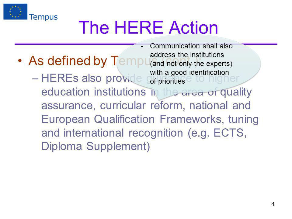 The HERE Action As defined by Tempus (cont.): –HEREs also provide guidance to higher education institutions in the area of quality assurance, curricular reform, national and European Qualification Frameworks, tuning and international recognition (e.g.