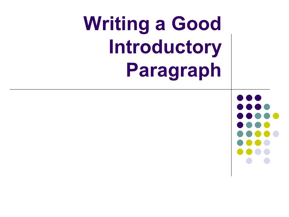 What is the purpose of the introductory paragraph.