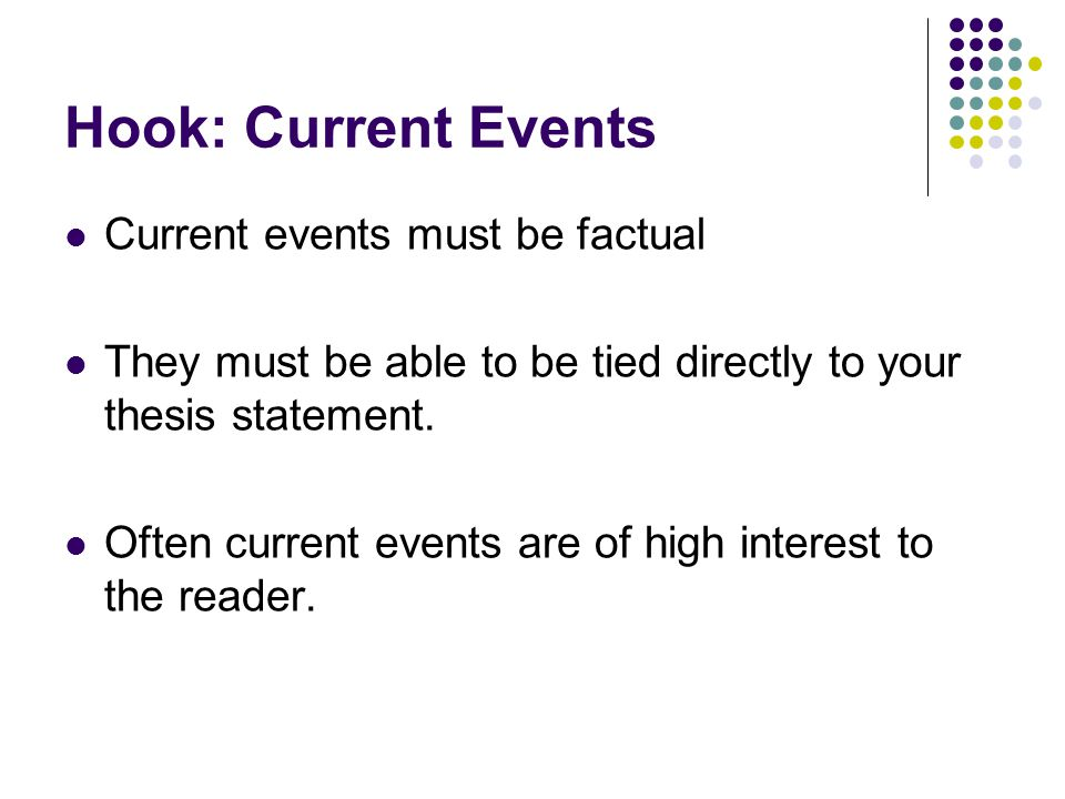 Hook: Current Events Current events must be factual They must be able to be tied directly to your thesis statement.