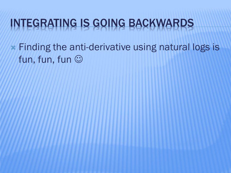  Finding the anti-derivative using natural logs is fun, fun, fun