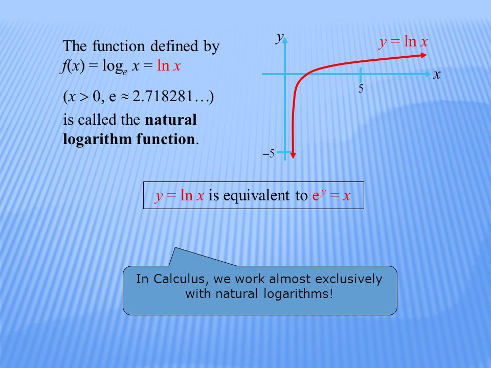 The function defined by f(x) = log e x = ln x is called the natural logarithm function.