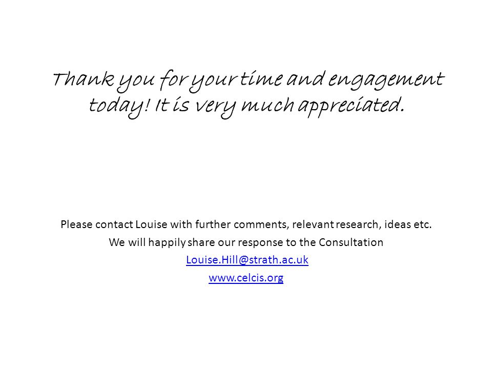 Thank you for your time and engagement today. It is very much appreciated.