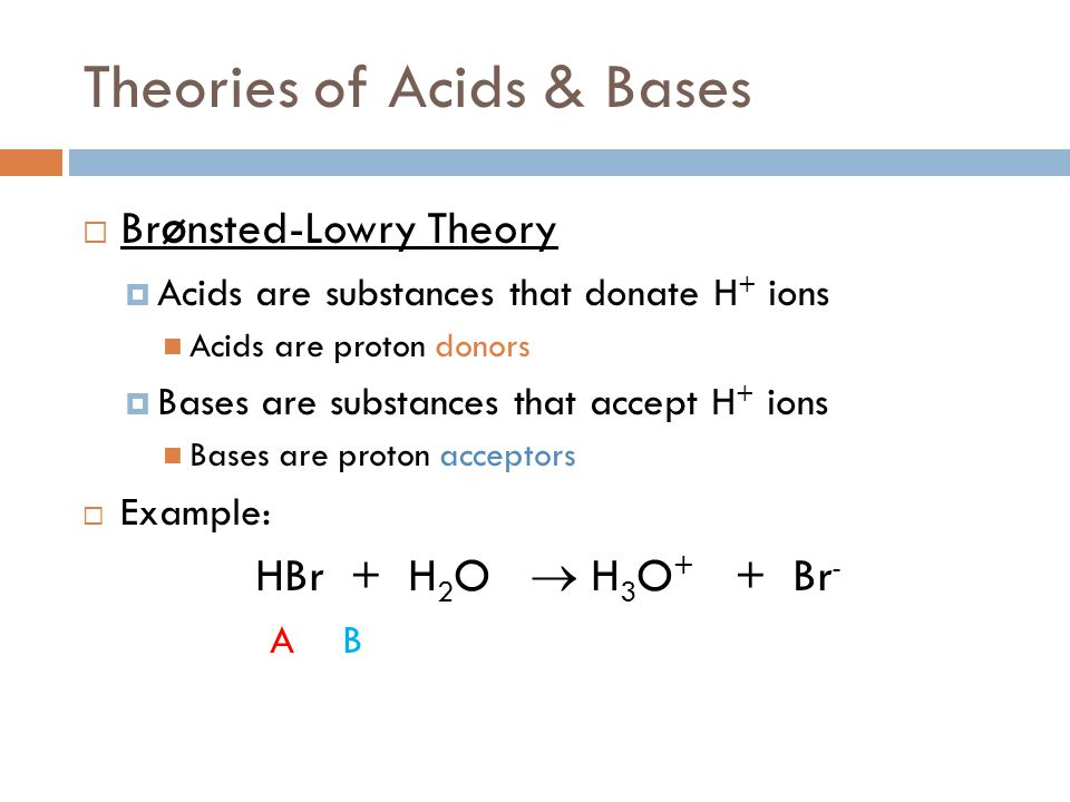 Brønsted-Lowry Theory  The behavior of NH 3 can now be understood: NH 3 (aq) + H 2 O (l) ↔ NH 4 + (aq) + OH - (aq)  Since NH 3 becomes NH 4 +, it is a proton acceptor (or a Brønsted-Lowry base)  H 2 O becomes OH -, which means it is a proton donor (or a Brønsted-Lowry acid)