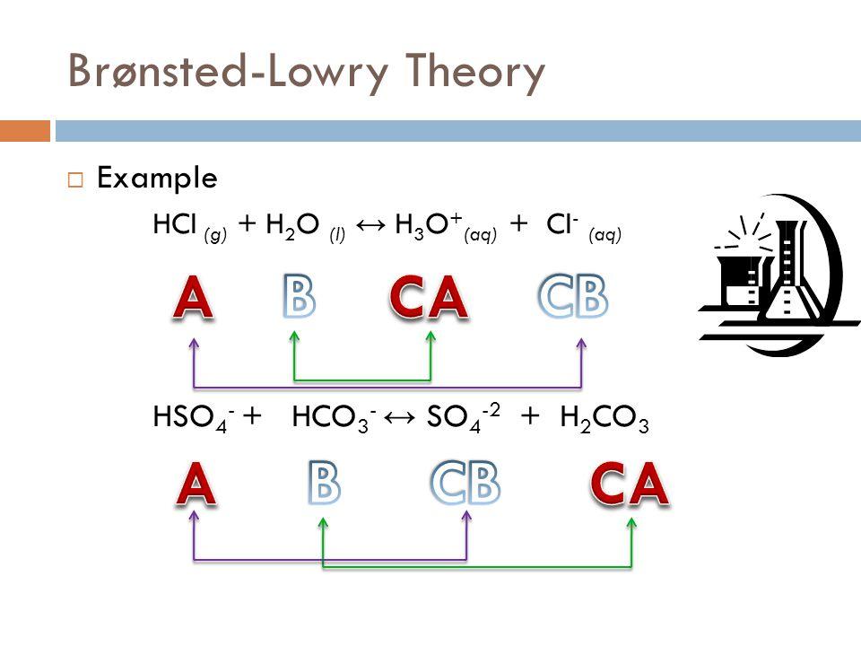 Brønsted-Lowry Theory  Example HCl (g) + H 2 O (l) ↔ H 3 O + (aq) + Cl - (aq) HSO 4 - + HCO 3 - ↔ SO 4 -2 + H 2 CO 3