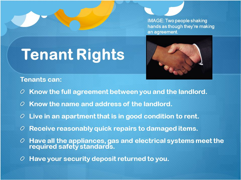 Tenant Rights Tenants can: Know the full agreement between you and the landlord. Know the name and address of the landlord. Live in an apartment that