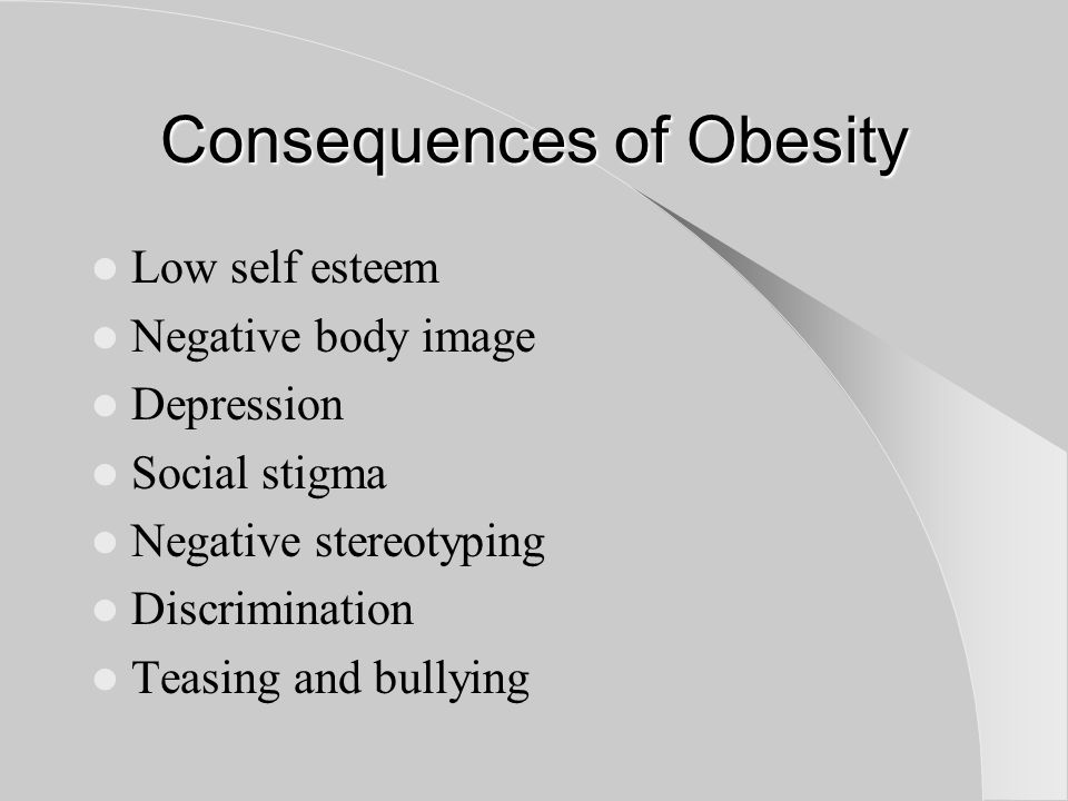 Consequences of Obesity Low self esteem Negative body image Depression Social stigma Negative stereotyping Discrimination Teasing and bullying