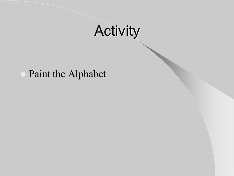 Activity Paint the Alphabet