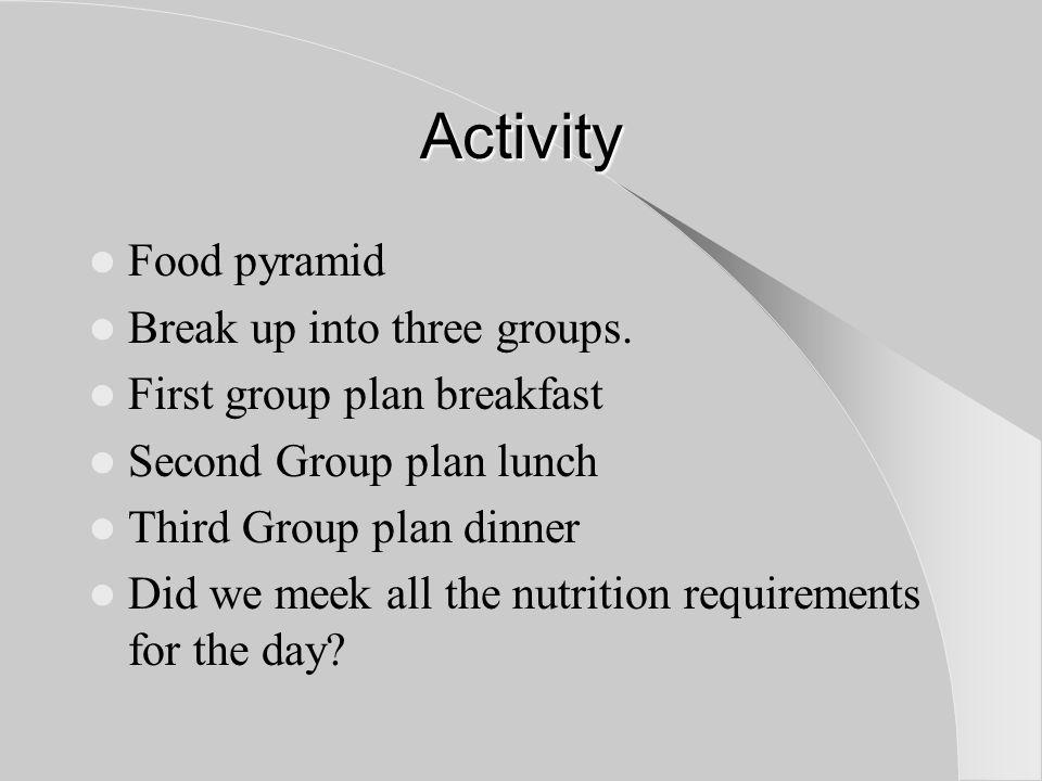 Activity Food pyramid Break up into three groups.