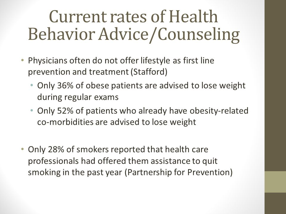 Current rates of Health Behavior Advice/Counseling Physicians often do not offer lifestyle as first line prevention and treatment (Stafford) Only 36% of obese patients are advised to lose weight during regular exams Only 52% of patients who already have obesity-related co-morbidities are advised to lose weight Only 28% of smokers reported that health care professionals had offered them assistance to quit smoking in the past year (Partnership for Prevention)