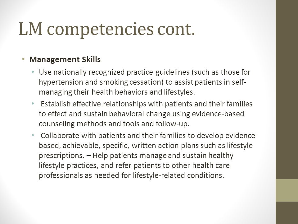 LM competencies cont.
