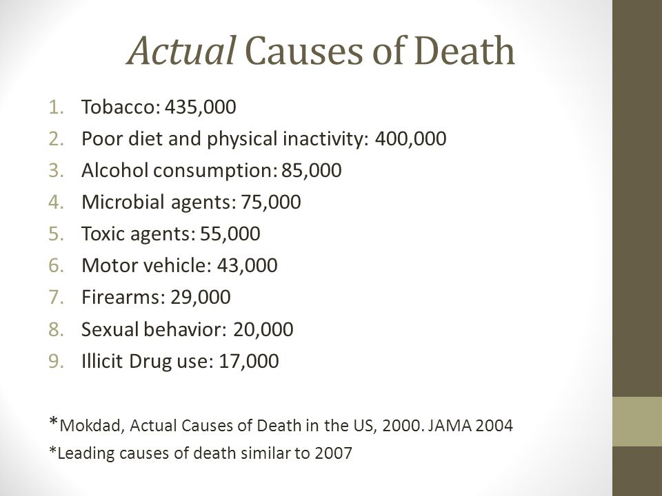 Actual Causes of Death 1.Tobacco: 435,000 2.Poor diet and physical inactivity: 400,000 3.Alcohol consumption: 85,000 4.Microbial agents: 75,000 5.Toxic agents: 55,000 6.Motor vehicle: 43,000 7.Firearms: 29,000 8.Sexual behavior: 20,000 9.Illicit Drug use: 17,000 * Mokdad, Actual Causes of Death in the US, 2000.