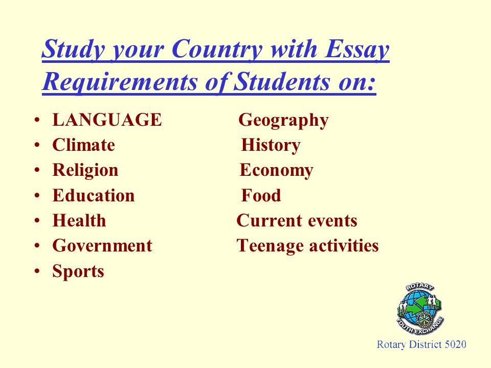 Study your Country with Essay Requirements of Students on: LANGUAGE Geography Climate History Religion Economy Education Food Health Current events Government Teenage activities Sports