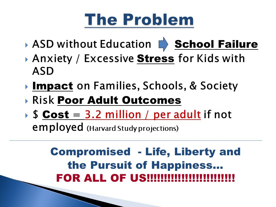  ASD without Education School Failure  Anxiety / Excessive Stress for Kids with ASD  Impact on Families, Schools, & Society  Risk Poor Adult Outcomes  $ Cost = 3.2 million / per adult if not employed (Harvard Study projections) Compromised - Life, Liberty and the Pursuit of Happiness… FOR ALL OF US!!!!!!!!!!!!!!!!!!!!!!!!!