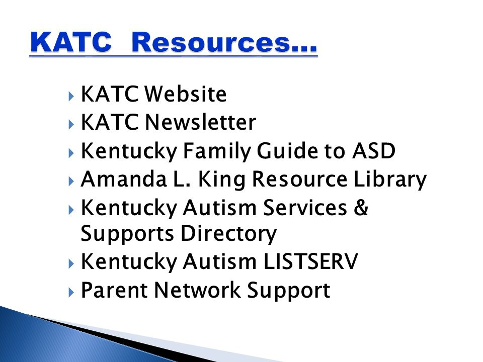  KATC Website  KATC Newsletter  Kentucky Family Guide to ASD  Amanda L.