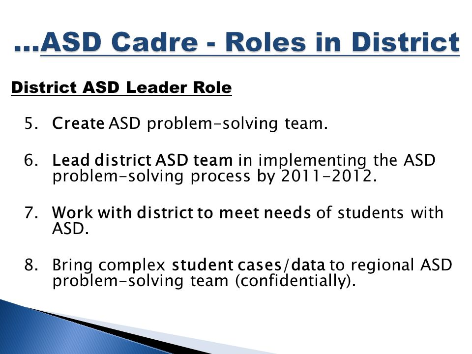 District ASD Leader Role 5.Create ASD problem-solving team.