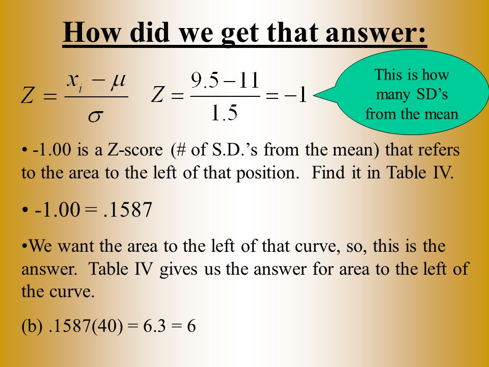 How did we get that answer: -1.00 is a Z-score (# of S.D.'s from the mean) that refers to the area to the left of that position. Find it in Table IV.