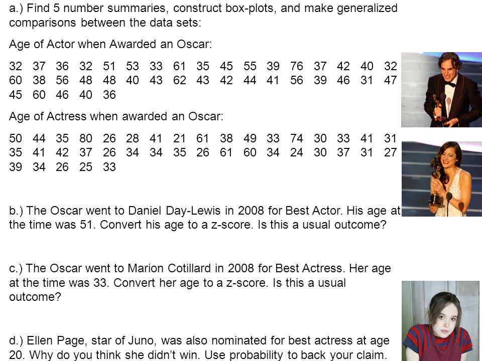 a.) Find 5 number summaries, construct box-plots, and make generalized comparisons between the data sets: Age of Actor when Awarded an Oscar: 32 37 36 32 51 53 33 61 35 45 55 39 76 37 42 40 32 60 38 56 48 48 40 43 62 43 42 44 41 56 39 46 31 47 45 60 46 40 36 Age of Actress when awarded an Oscar: 50 44 35 80 26 28 41 21 61 38 49 33 74 30 33 41 31 35 41 42 37 26 34 34 35 26 61 60 34 24 30 37 31 27 39 34 26 25 33 b.) The Oscar went to Daniel Day-Lewis in 2008 for Best Actor.