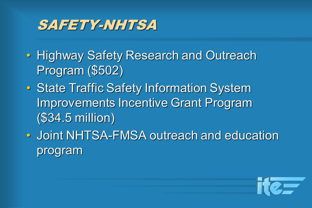 SAFETY-NHTSA Highway Safety Research and Outreach Program ($502)Highway Safety Research and Outreach Program ($502) State Traffic Safety Information S