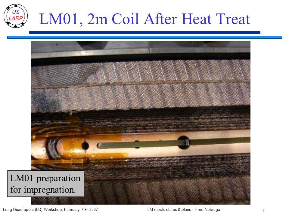 LM dipole status & plans – Fred Nobrega 7 Long Quadrupole (LQ) Workshop, February 7-9, 2007 LM01, 2m Coil After Heat Treat LM01 preparation for impregnation.