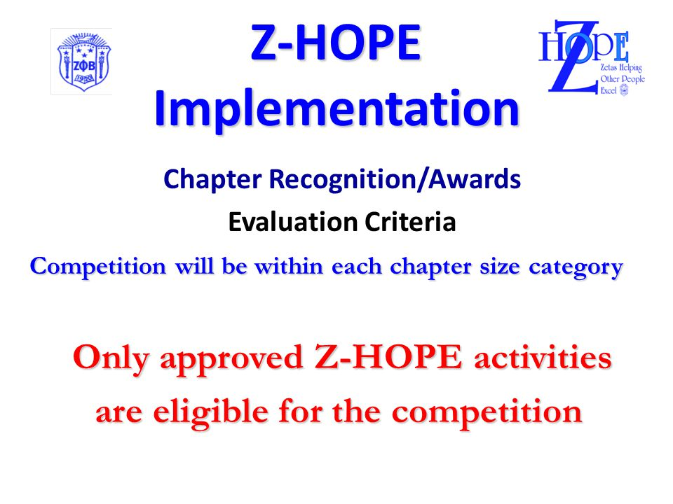 Z-HOPE  Implementation Chapter Recognition/Awards If you want to earn Premier Chapter Status Premier Chapter Status EARN Z-Points