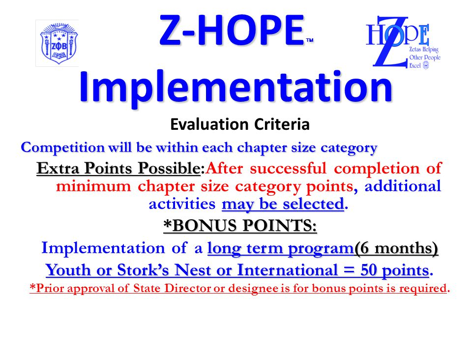 Z-HOPE Implementation Chapter Recognition/Awards Additional requirements Chapters are to implement activities from a selected Z-HOPE population category according to chapter size: Chapter SizeRequired # of additional Activities after required one activity for Women and Senior Up to 4 Members1 Activity 5-25 Members2 Activities 5-25 Members2 Activities 25-50 Members4 Activities Over 50 Members6 Activities Each activity/program must have at least 20 non-members in attendance to be counted in the competition *Established in accordance with the formula for voting strength.