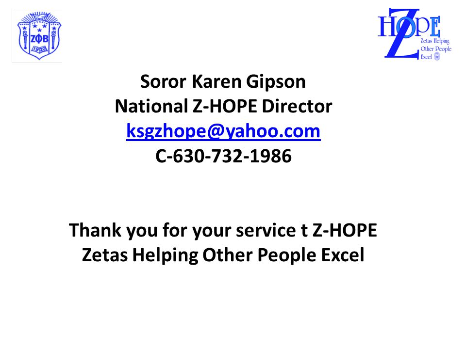 Z-HOPE  Z-HOPE  Evaluation Reports 1)Chapters collect program evaluation forms from attendees.