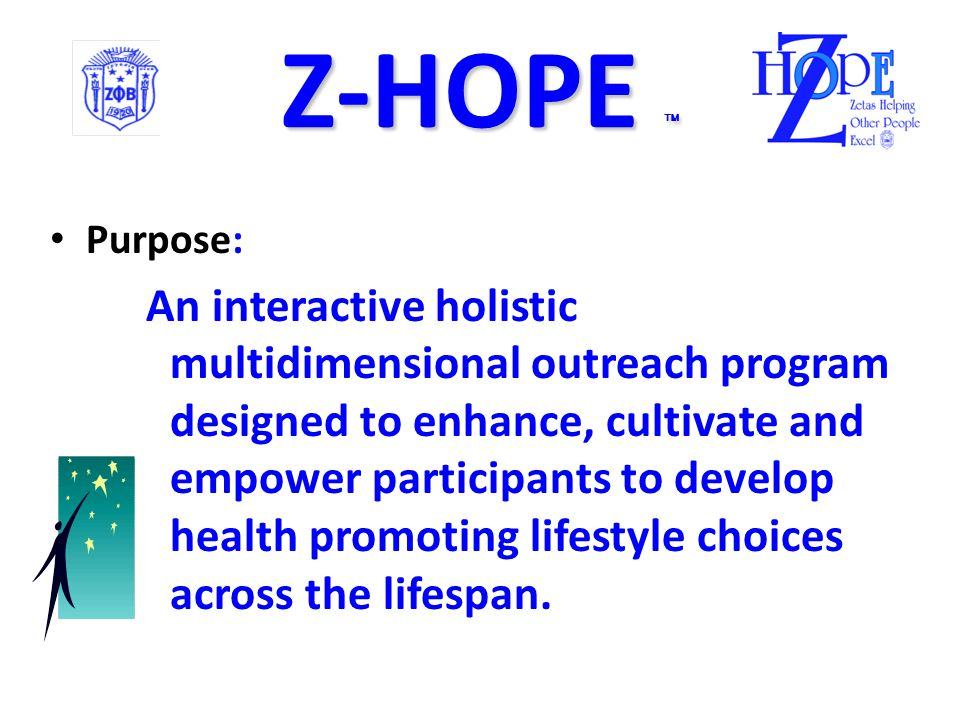 Z-HOPE  Zetas Helping Other People Excel Z-HOPE  Zetas Helping Other People Excel The National Service Program Soror Karen Gipson National Z-HOPE Director