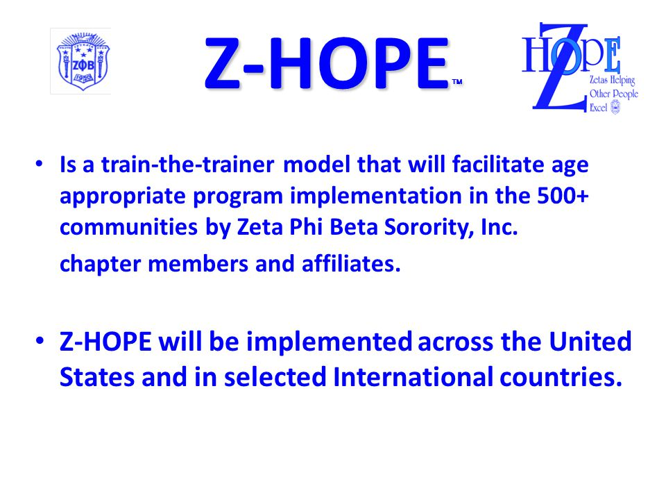 Z-HOPE  Purpose: An interactive holistic multidimensional outreach program designed to enhance, cultivate and empower participants to develop health promoting lifestyle choices across the lifespan.