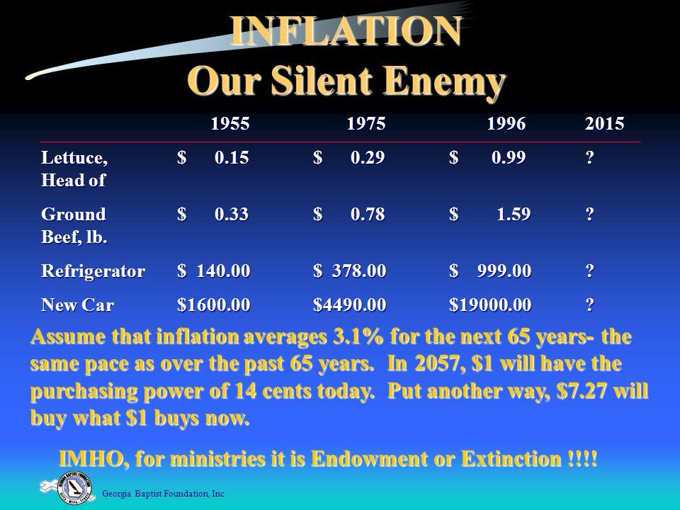Georgia Baptist Foundation, Inc.INFLATION Our Silent Enemy 1955 1975 19962015 1955 1975 19962015 Lettuce,$ 0.15$ 0.29 $ 0.99.