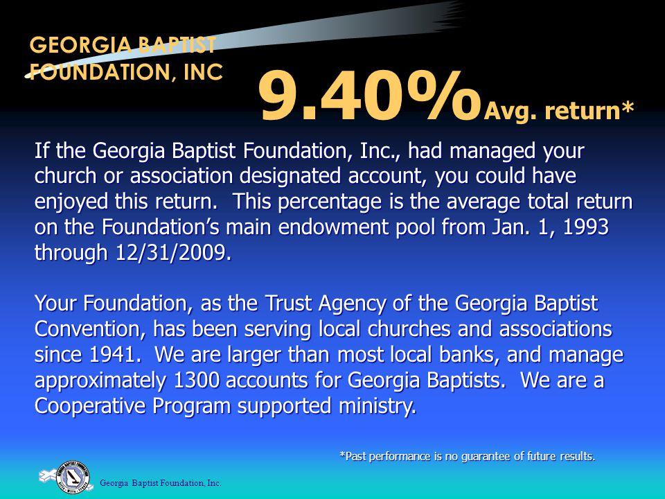 Georgia Baptist Foundation, Inc.GEORGIA BAPTIST FOUNDATION, INC 9.40% Avg.
