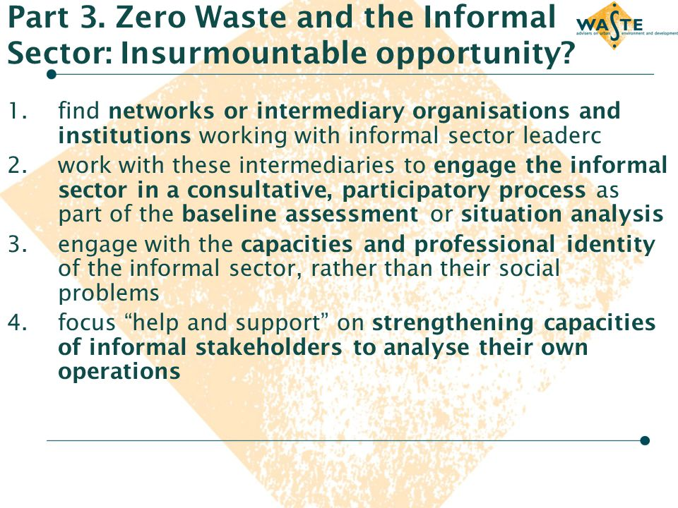 Part 3. Zero Waste and the Informal Sector: Insurmountable opportunity? 1.find networks or intermediary organisations and institutions working with in