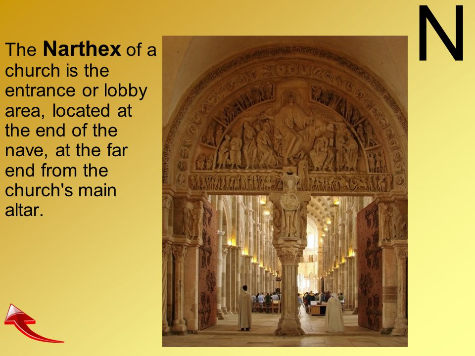 N The Narthex of a church is the entrance or lobby area, located at the end of the nave, at the far end from the church's main altar.