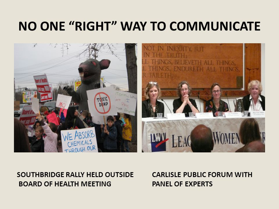 NO ONE RIGHT WAY TO COMMUNICATE SOUTHBRIDGE RALLY HELD OUTSIDE BOARD OF HEALTH MEETING CARLISLE PUBLIC FORUM WITH PANEL OF EXPERTS