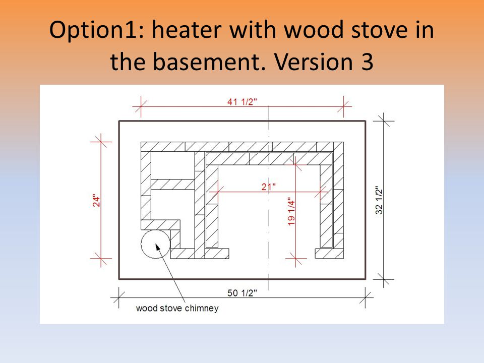 Option1: heater with wood stove in the basement. Version 3