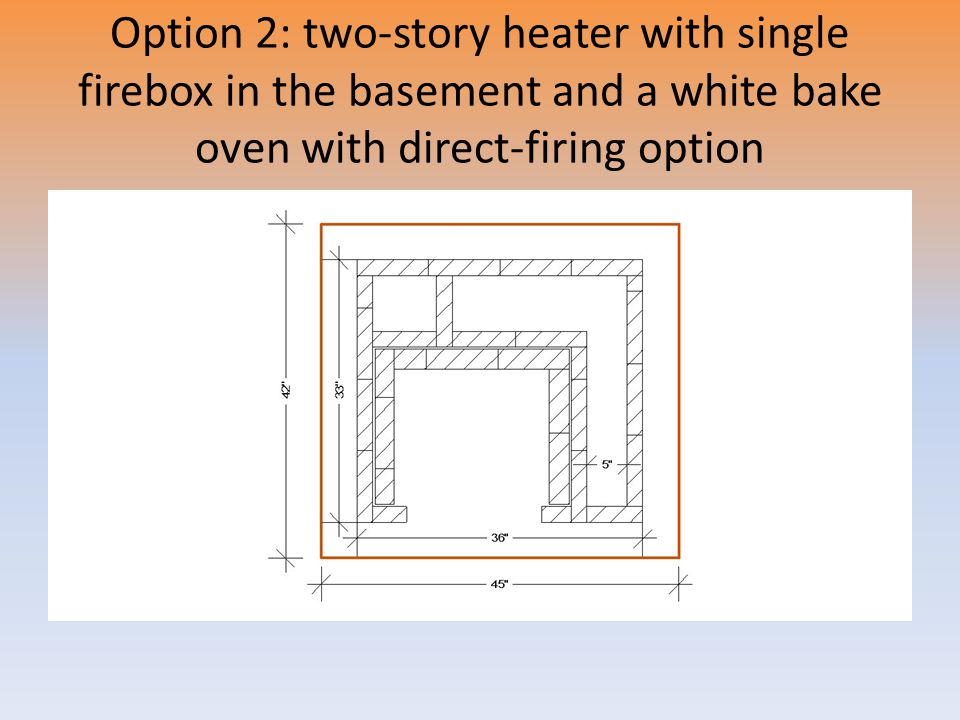 Option 2: two-story heater with single firebox in the basement and a white bake oven with direct-firing option